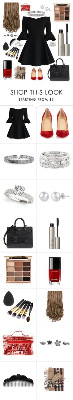 """""""Late Night Lady"""" by ashleyk0214 on Polyvore featuring Chicwish, Christian Louboutin, Bling Jewelry, Sole Society, Yves Saint Laurent, Ilia, Stila, Chanel, Anna Sui and Burberry"""