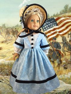 Civil War Doll Dress American Girl by CrabapplesBoutique on Etsy https://www.etsy.com/listing/218369828/civil-war-doll-dress-american-girl
