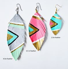 Love Sexton NEON AZTEC Feather Earrings Sizes Available