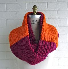 Warm and Cozy Orange and Fuchsia Color Block by BethLucasDesign, $48.00