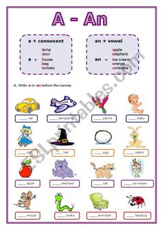 This is a worksheet about the indefinite article: a or an. There are four pages with simple exercises for children or beginner students. English Grammar For Kids, Learning English For Kids, Teaching English Grammar, English Worksheets For Kids, English Lessons For Kids, Kids English, Grammar Lessons, Grammar Activities, English Activities