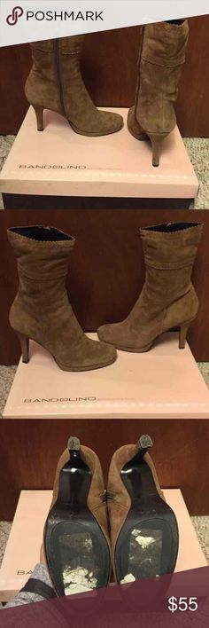 "Nine West Bodesta Boot Nine West Light Brown Suede Boot Rich Tan Soft Rich Suede 4"" Heel Boot  Original Box & Plastic Kept  Smoke Free Home Bandolino Shoes Ankle Boots & Booties"