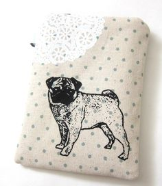 Tall Pouch - Pug and Lace on Dotty Linen - Handmade. $22.00, via Etsy.