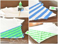 sugartotdesigns: DIY Neon Striped Shirt