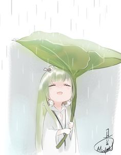 Chibi Enkidu protecting from rain