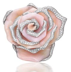 Brooch modeled as a blossom rose, set with pink opal petals, embellished by brilliant-cut diamonds. Mounted in white gold. Opal Jewelry, High Jewelry, My Birthstone, Rihanna, Diamond Brooch, October Birth Stone, Classic Style Women, Pink Opal, Chopard