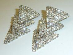 Vintage Clear Rhinestone Dangle Earrings Prong by labaublesandbags, $39.00