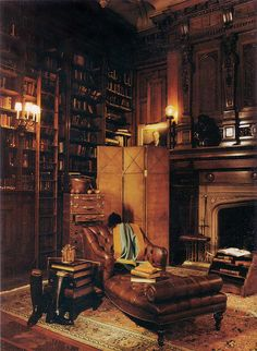 Library. Love the leather chaise longue