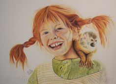 Pippi Langstrumpf. Colored pencil drawing with Luminance and Polychromos colored pencils on Stonhenge