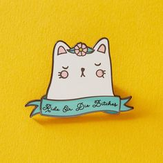Ride or Die Bitches Hard enamel Pin  Measures approx 38 mm