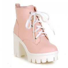 Valentine's Day SALE-CRYBABY PINK KAWAII BOOTS ($60) ❤ liked on Polyvore featuring shoes, boots, holographic shoes, genuine leather boots, pink shoes, leather high heel boots and genuine leather shoes