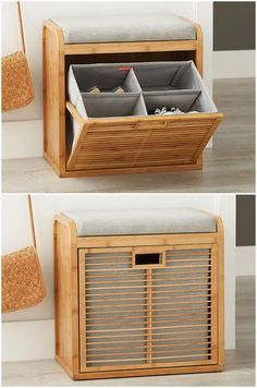 15 clever ways to store your shoes and boots – Bamboo shoe bench – Top Trend – Decor – Life Style Wooden Shoe Rack Designs, Wooden Shoe Racks, Diy Shoe Rack, Best Shoe Rack, Space Saving Furniture, Diy Furniture, Furniture Design, Shoe Storage Cabinet, Bench Storage