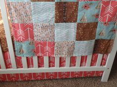 Teepee, Floral, Fawn and Arrow Patchwork Baby Minky Blanket or Quilt by AHouseDivided on Etsy