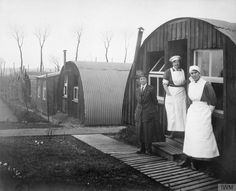 """Olive Edis, """"Commandant Johnson and two other women of the General Service Voluntary Aid Detachment (VAD) Motor Convoy outside Nissen Huts, Abbeville, France"""" (© IWM (Q World War One, First World, Battle Of The Somme, Vintage Nurse, War Image, Famous Photographers, Women In History, Worlds Of Fun, Wwi"""