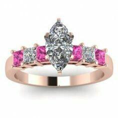 Pink and diamond studded wedding ring.