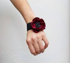 Red Flower Bracelet Bangle Cuff by MagicalFairytale