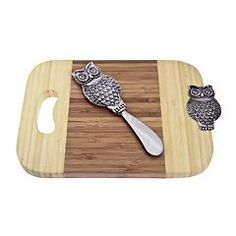 Thirstystone Owl Serving Board & Spreader Set