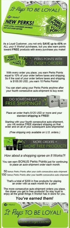 Check out our amazing product line. Totally worth it! www.hilaryeberline.myitworks.com/shop