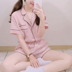 Korean Girl Fashion, Korean Fashion Trends, Ulzzang Fashion, Kpop Fashion Outfits, Girls Fashion Clothes, Korean Outfits, Girl Outfits, Cute Pajama Sets, Cute Pajamas
