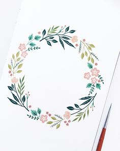 Blumenkranz diy tattoo images - tattoo images drawings - tattoo images women - tattoo i Diy Tattoo, Geometric Tatto, Wreath Drawing, Floral Illustrations, Bullet Journal Inspiration, Watercolor Flowers, Floral Wreath Watercolor, Watercolour, Watercolor Design