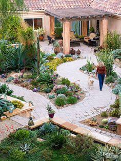 separate walkways with succulents in between