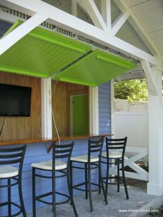 Snack Shack by Historic Shed. Great Ideo for my garage that borders my backyard - pass through bar!