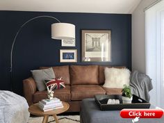 Garage conversion to guest, leisure, study and music room. Dark blue/navy featur… – 2019 - Sofa ideas Garage conversion to guest leisure study and music room. Blue Feature Wall Living Room, Brown And Blue Living Room, Beige Living Rooms, Living Room Sofa, Brown Leather Sofa Living Room Decor, Dark Blue Feature Wall, Lounge Decor, Office Lounge, Decoration
