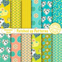 Patched Up Patterns digital papers Hearts  door PrintableTales