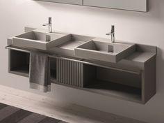 Piano lavabo doppio in ceramica I PIANI by Ceramica Cielo | design Lorenzo Bellini #napoli #madeinitaly #caiazzocentroceramiche #prezzofelice #pozzuoli