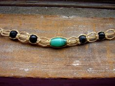 Cerulean  Glass and Wood Beaded Hemp Necklace by ecocreations