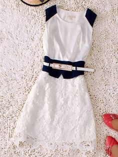 White Round Neck Sleeveless Hollow Drawstring Waist Silk Dress