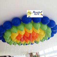 Teto de Gás hélio colorido na festa da Maju www.balloonsfest.com