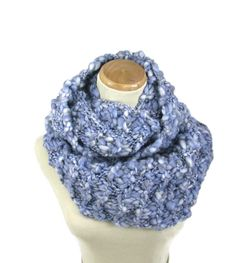 Knit Infinity Scarf, Hand Knit Scarf, Gift Idea For Her, Fashion Accessory, Women Accessory Blue Scarf, Knit Snood, Knit Circle Scarf, - pinned by pin4etsy.com