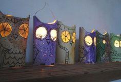 Eulen-Laterne /DIY Owl Lanterns out of toilet paper rolls Making Paper Mache, Paper Mache Crafts, Paper Roll Crafts, Newspaper Crafts, Owl Lantern, Lantern Craft, Kids Lantern, Diy For Kids, Crafts For Kids