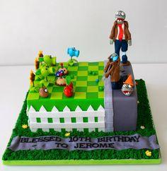 Plants vs Zombies Cake: for K&P Birthday Cake! Zombie Birthday Cakes, 9th Birthday Cake, Zombie Birthday Parties, Harry Birthday, Zombie Party, Boy Birthday, Birthday Ideas, Zombie Cakes, Plants Vs Zombies