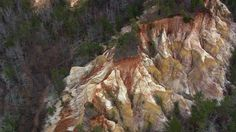 This is in Georgia! A view of Providence Canyon from the air. [From: Aerial America: Georgia]