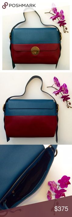 "✅OFFERS Marc Jacobs Colorblock Doubles 1/2 This cobalt and oxblood beauty, off-set by antiqued gold hardware, is the perfect year round bag. Approximately 12""W x 9""H x 3 1/2""D, with a 7-12"" adjustable strap drop. The push-lock closure has an optional lock and opens to an interior with one zip pocket and two slip pockets. Gently used. Slight rubbing on corners, some small scuffs, and tiny white pinpoint 'dots' throughout that are barely noticeable. See other listing for photos.  ✨SHIPS WITHIN…"