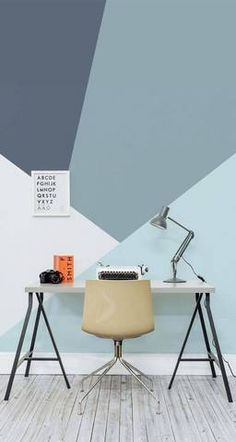 Shades of Blue Graphic Painted Office