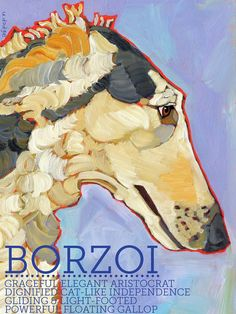 Borzoi No. 1 - magnets, coasters and art prints in four sizes