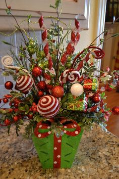 Whimiscal Christmas Flower Arrangements | Whimsical Green Present Arrangement by kristenscreations on Etsy