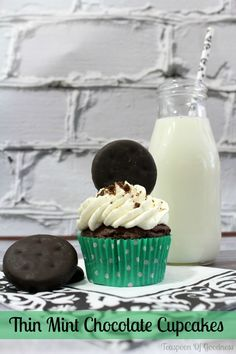 Thin Mint Chocolate Cupcake Recipe - Teaspoon Of Goodness