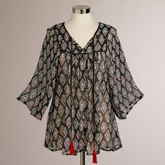 Charcoal Samira Ikat Flowy Blouse | World Market