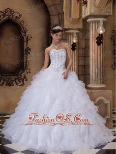 Romantic White Quinceanera Dress Sweetheart Organza Beading Ball Gown  http://www.fashionos.com   quinceanera dress in white | dropped waist quinceanera dress| romantic quinceanera dress | full skirt quinceanera dress | corset closure quinceanera dress | white sweetheart quinceanera dress |quinceanera dress for 16 girl |