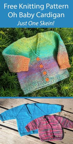 Free Baby Sweater Knitting Patterns, Knit Baby Sweaters, Easy Knitting Patterns, Knitting For Kids, Free Knitting, Creative Knitting, Baby Kind, Crochet Baby, Knitted Baby