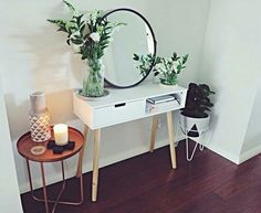 Hall table ideas hallway table decor hall table mirror copper side table pot plant and pot stand candle hallway hall table display ideas Hallway Table Decor, Table Mirror, Copper Side Table, Kmart Decor, Living Room Decor Kmart, Kmart Home, Home Design, Interior Design, Home Organisation