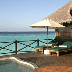 Coco Palm Dhuni Kolhu, Maldives.  The views from luxury Maldivan hotels are all pretty great (think heavenly blue as far as the eye can see), but Coco Palm's stilted lodges are among the very best.