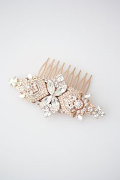 Wedding Hair Accessories Rose Gold Hair Comb by LuluSplendor