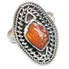 Rough Citrine 925 Sterling Silver Ring Size 8.25 RING759745