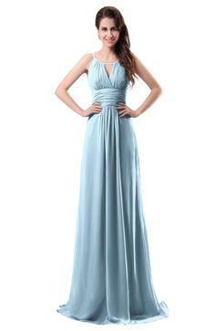 f5477d9bf8a Ice Blue Simple Column Scoop Chiffon Ruching Bridesmaid Dresses Lavender Bridesmaid  Dresses