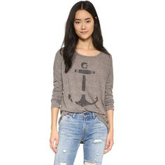 Sol Angeles Anchor Long Sleeve Dolman Tee ($89) ❤ liked on Polyvore featuring tops, t-shirts, heather, long sleeve scoop neck tee, long sleeve tee, graphic t shirts, graphic tees and long sleeve fitted tee